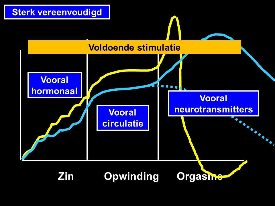 Vooral circulatie Vooral hormonaal Sterk vereenvoudigd Zin Opwinding Orgasme Zin Opwinding Orgasme Voldoende stimulatie Vooral neurotransmitters