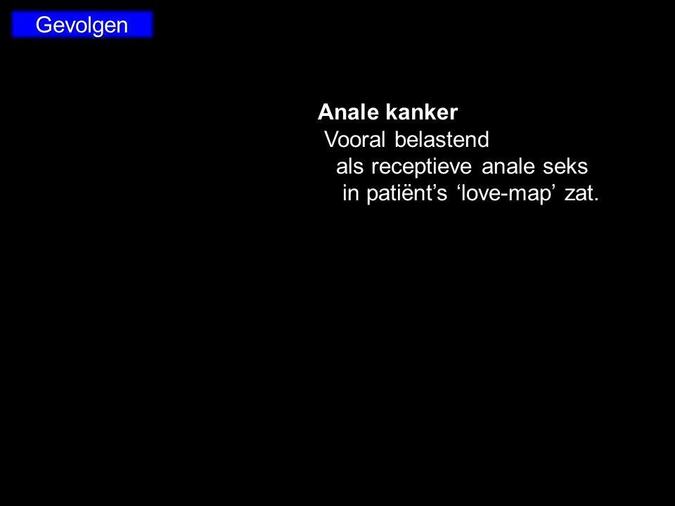 Gevolgen Anale kanker Vooral belastend als receptieve anale seks in patiënt's 'love-map' zat. Vooral belastend als receptieve anale seks in patiënt's