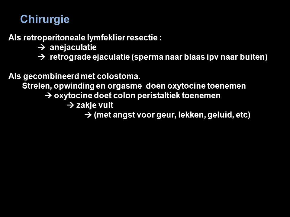 42 Chirurgie Als retroperitoneale lymfeklier resectie :  anejaculatie  retrograde ejaculatie (sperma naar blaas ipv naar buiten) Als gecombineerd me