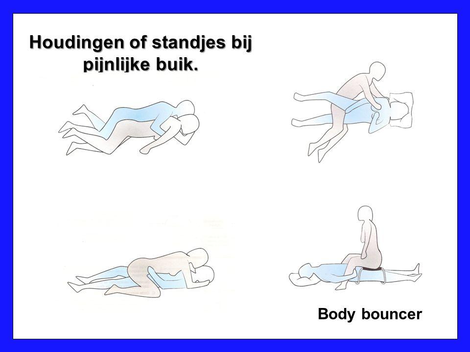 Houdingen of standjes bij pijnlijke buik. Body bouncer