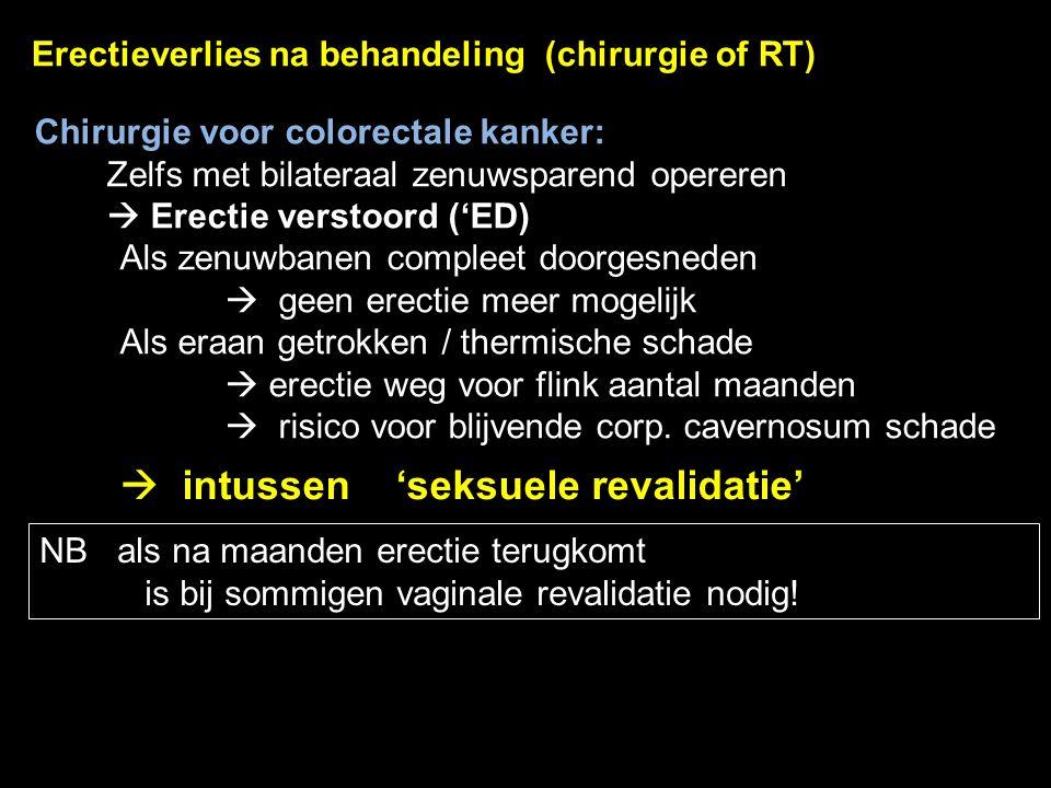 63 Erectieverlies na behandeling (chirurgie of RT) Chirurgie voor colorectale kanker: Zelfs met bilateraal zenuwsparend opereren  Erectie verstoord (