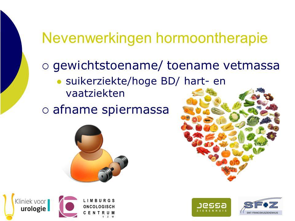 Nevenwerkingen hormoontherapie  gewichtstoename/ toename vetmassa suikerziekte/hoge BD/ hart- en vaatziekten  afname spiermassa