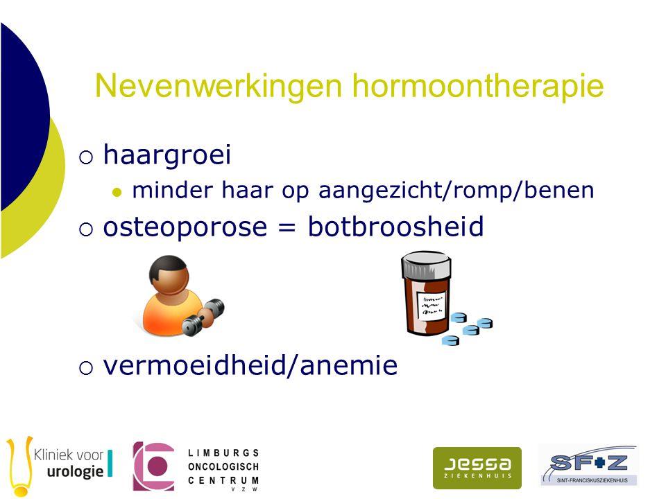 Nevenwerkingen hormoontherapie  haargroei minder haar op aangezicht/romp/benen  osteoporose = botbroosheid  vermoeidheid/anemie