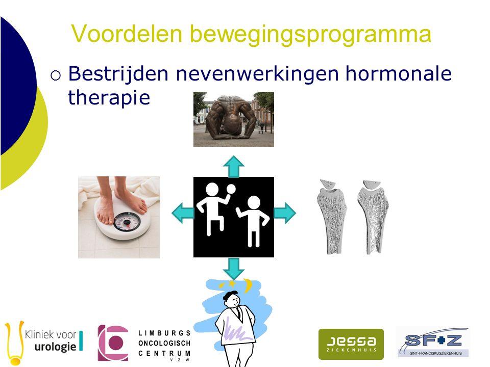 Voordelen bewegingsprogramma  Bestrijden nevenwerkingen hormonale therapie