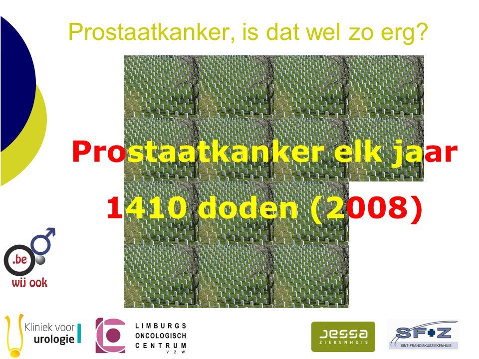 Prostaatkanker, is dat wel zo erg Prostaatkanker elk jaar 1410 doden (2008)