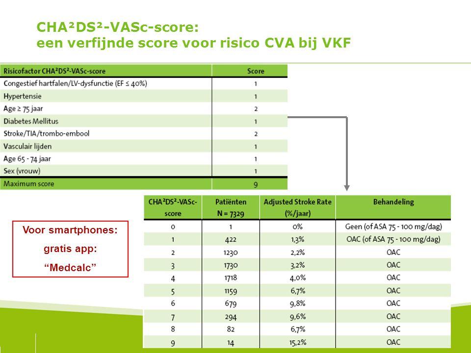 """CHA²DS²-VASc-score: een verfijnde score voor risico CVA bij VKF Voor smartphones: gratis app: """"Medcalc"""""""