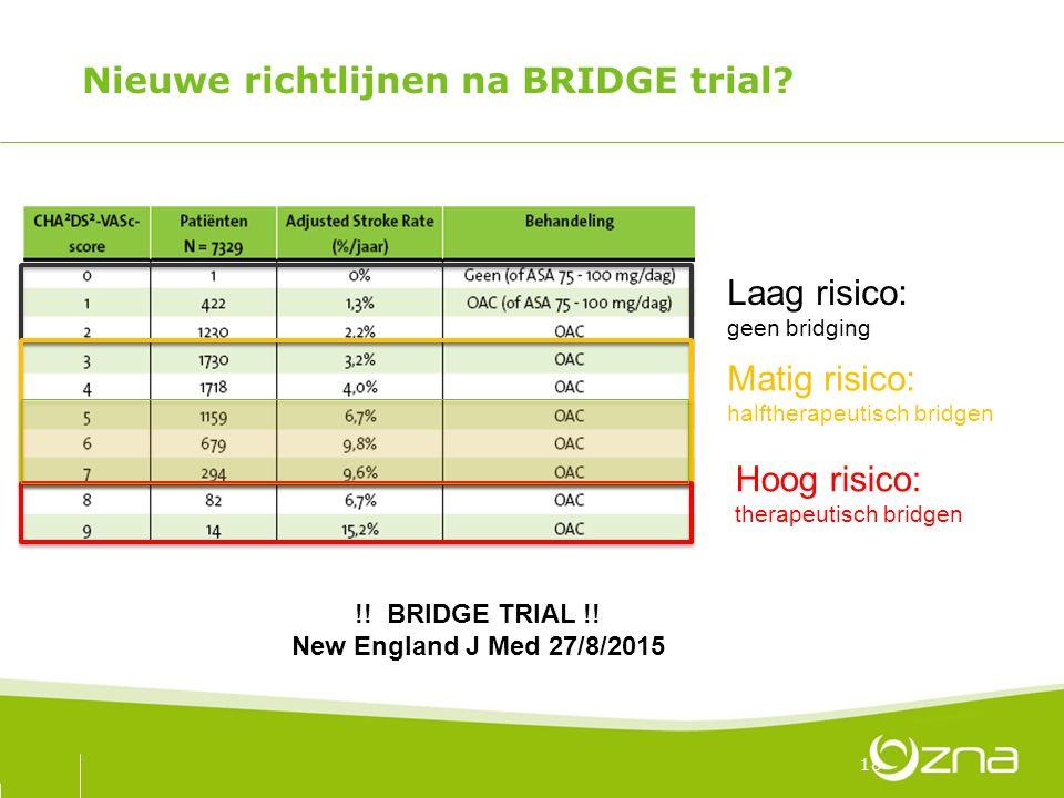 Nieuwe richtlijnen na BRIDGE trial? 18 Laag risico: geen bridging Matig risico: halftherapeutisch bridgen Hoog risico: therapeutisch bridgen !! BRIDGE