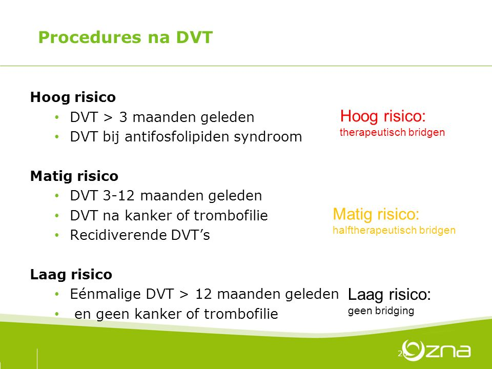 Procedures na DVT Hoog risico DVT > 3 maanden geleden DVT bij antifosfolipiden syndroom Matig risico DVT 3-12 maanden geleden DVT na kanker of trombof