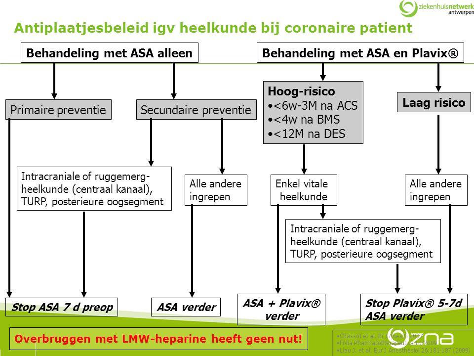 Behandeling met ASA alleen Primaire preventieSecundaire preventie Intracraniale of ruggemerg- heelkunde (centraal kanaal), TURP, posterieure oogsegmen
