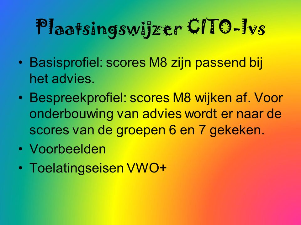 Kirsten, nu met de nieuwe norm (E - A) Doordat Cito de landelijke normen heeft verzwaard past bij de vaardigheidsscore 75 op de medio-toets geen B-niveau meer, maar een C-niveau.