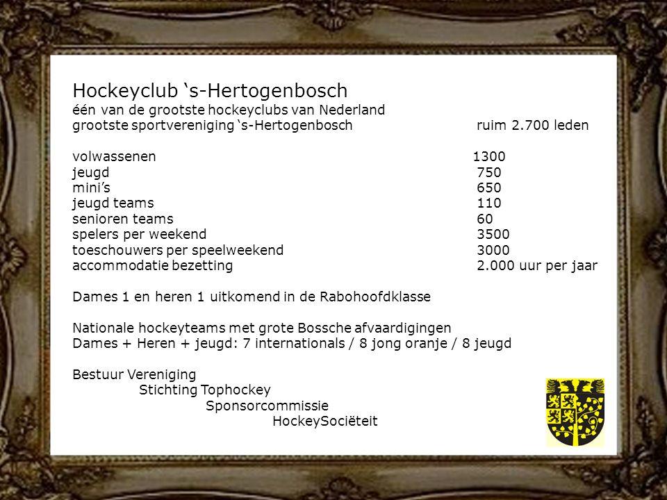 Hockeyclub 's-Hertogenbosch één van de grootste hockeyclubs van Nederland grootste sportvereniging 's-Hertogenbosch ruim 2.700 leden volwassenen1300 jeugd 750 mini's 650 jeugd teams 110 senioren teams 60 spelers per weekend 3500 toeschouwers per speelweekend 3000 accommodatie bezetting 2.000 uur per jaar Dames 1 en heren 1 uitkomend in de Rabohoofdklasse Nationale hockeyteams met grote Bossche afvaardigingen Dames + Heren + jeugd: 7 internationals / 8 jong oranje / 8 jeugd Bestuur Vereniging Stichting Tophockey Sponsorcommissie HockeySociëteit