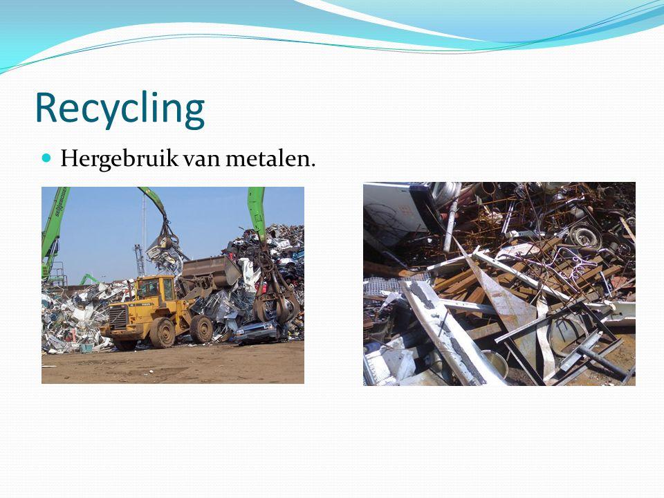 Recycling Hergebruik van metalen.