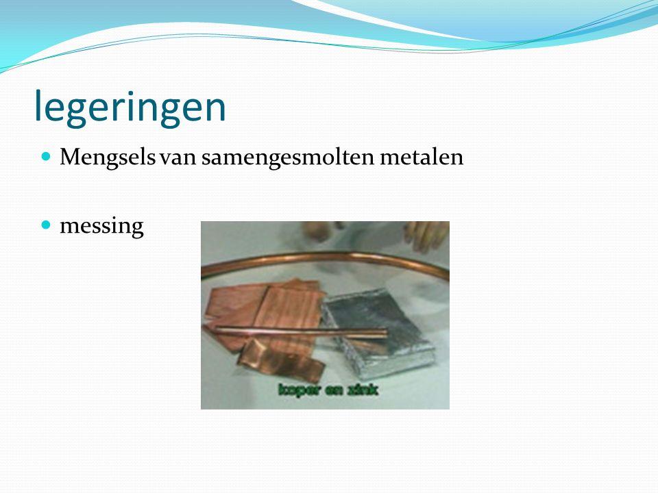 legeringen Mengsels van samengesmolten metalen messing