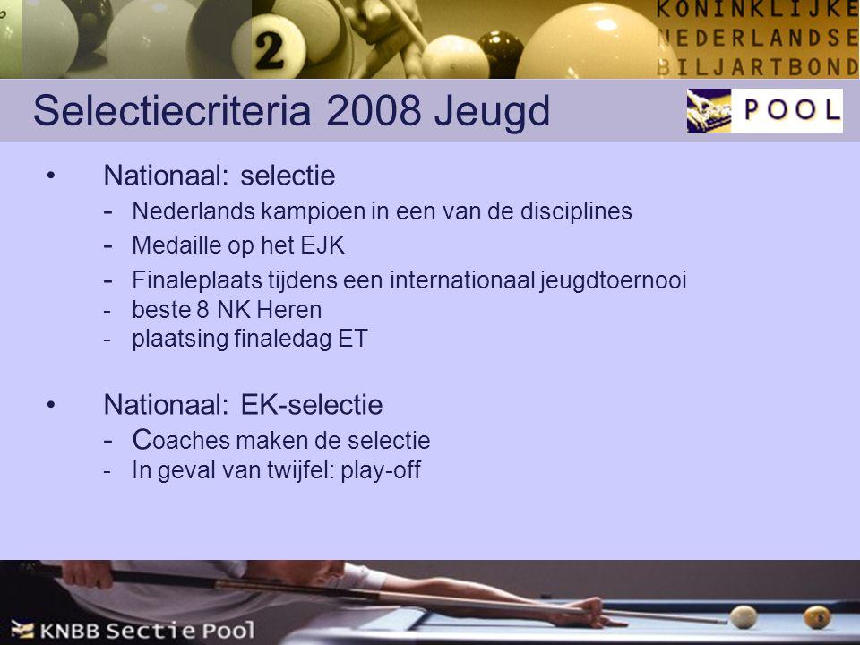 Selectiecriteria 2008 Jeugd Nationaal: selectie - Nederlands kampioen in een van de disciplines - Medaille op het EJK - Finaleplaats tijdens een internationaal jeugdtoernooi -beste 8 NK Heren -plaatsing finaledag ET Nationaal: EK-selectie - C oaches maken de selectie - In geval van twijfel: play-off