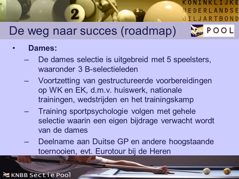 De weg naar succes (roadmap) Dames: –De dames selectie is uitgebreid met 5 speelsters, waaronder 3 B-selectieleden –Voortzetting van gestructureerde voorbereidingen op WK en EK, d.m.v.