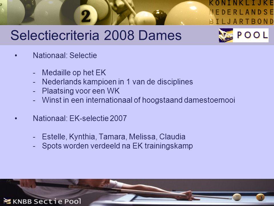 Selectiecriteria 2008 Dames Nationaal: Selectie -Medaille op het EK -Nederlands kampioen in 1 van de disciplines -Plaatsing voor een WK -Winst in een internationaal of hoogstaand damestoernooi Nationaal: EK-selectie 2007 -Estelle, Kynthia, Tamara, Melissa, Claudia -Spots worden verdeeld na EK trainingskamp