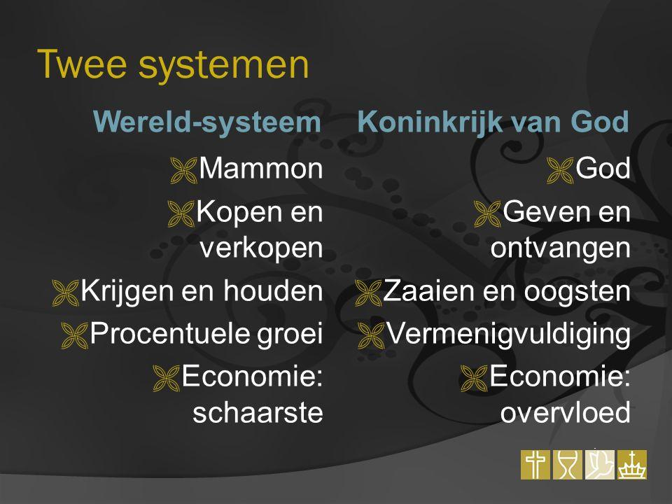 Twee systemen Wereld-systeemKoninkrijk van God  Mammon  Kopen en verkopen  Krijgen en houden  Procentuele groei  Economie: schaarste  God  Geven en ontvangen  Zaaien en oogsten  Vermenigvuldiging  Economie: overvloed