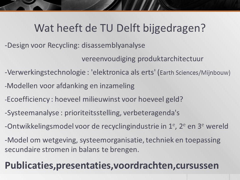 Wat heeft de TU Delft bijgedragen.