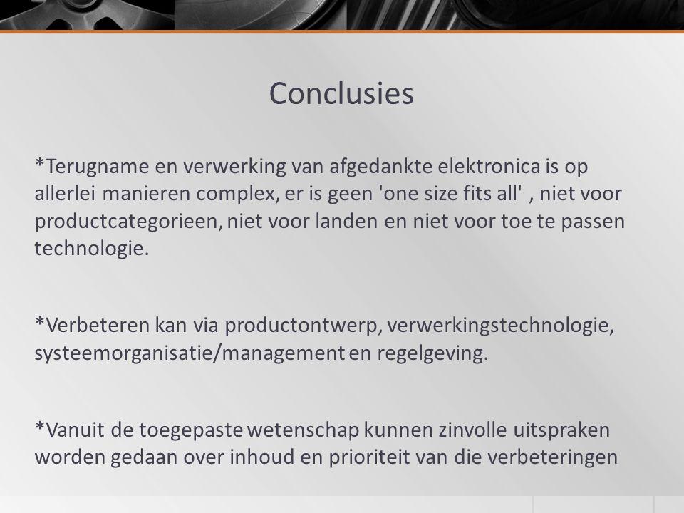 Conclusies *Terugname en verwerking van afgedankte elektronica is op allerlei manieren complex, er is geen one size fits all , niet voor productcategorieen, niet voor landen en niet voor toe te passen technologie.