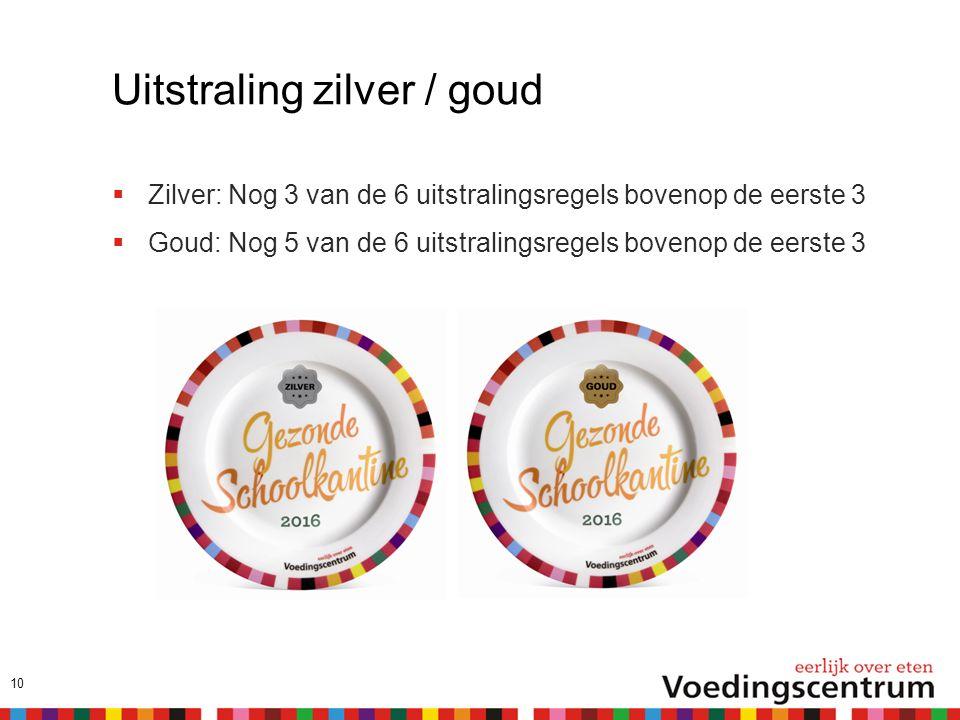 Uitstraling zilver / goud  Zilver: Nog 3 van de 6 uitstralingsregels bovenop de eerste 3  Goud: Nog 5 van de 6 uitstralingsregels bovenop de eerste 3 10