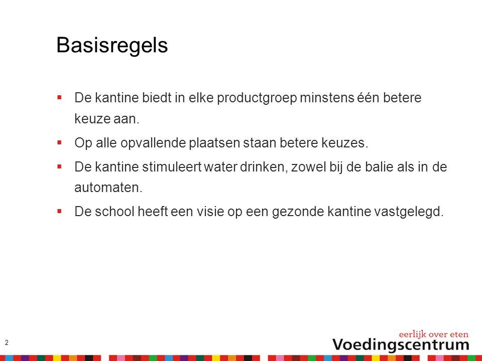 Basisregels  De kantine biedt in elke productgroep minstens één betere keuze aan.