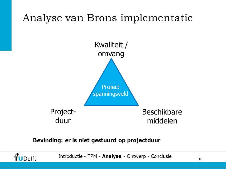 10 Challenge the future Bevinding: er is niet gestuurd op projectduur Analyse van Brons implementatie Project spanningsveld Project- duur Beschikbare middelen Kwaliteit / omvang Introductie - TPM - Analyse - Ontwerp - Conclusie