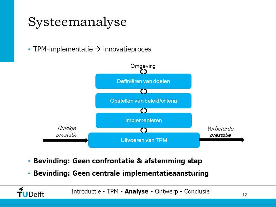 12 Challenge the future Systeemanalyse TPM-implementatie  innovatieproces Bevinding: Geen confrontatie & afstemming stap Bevinding: Geen centrale implementatieaansturing Uitvoeren van TPM Implementeren Opstellen van beleid/criteria Definiëren van doelen Huidige prestatie Verbeterde prestatie Introductie - TPM - Analyse - Ontwerp - Conclusie Omgeving