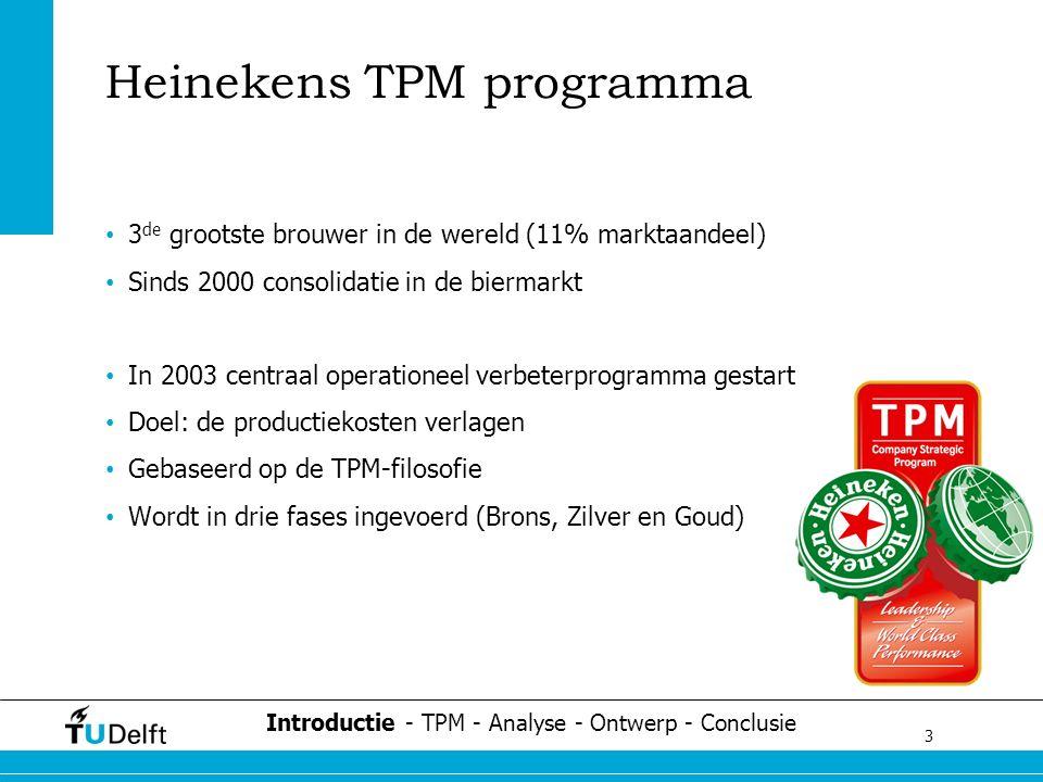 3 Challenge the future Heinekens TPM programma 3 de grootste brouwer in de wereld (11% marktaandeel) Sinds 2000 consolidatie in de biermarkt In 2003 centraal operationeel verbeterprogramma gestart Doel: de productiekosten verlagen Gebaseerd op de TPM-filosofie Wordt in drie fases ingevoerd (Brons, Zilver en Goud) Introductie - TPM - Analyse - Ontwerp - Conclusie