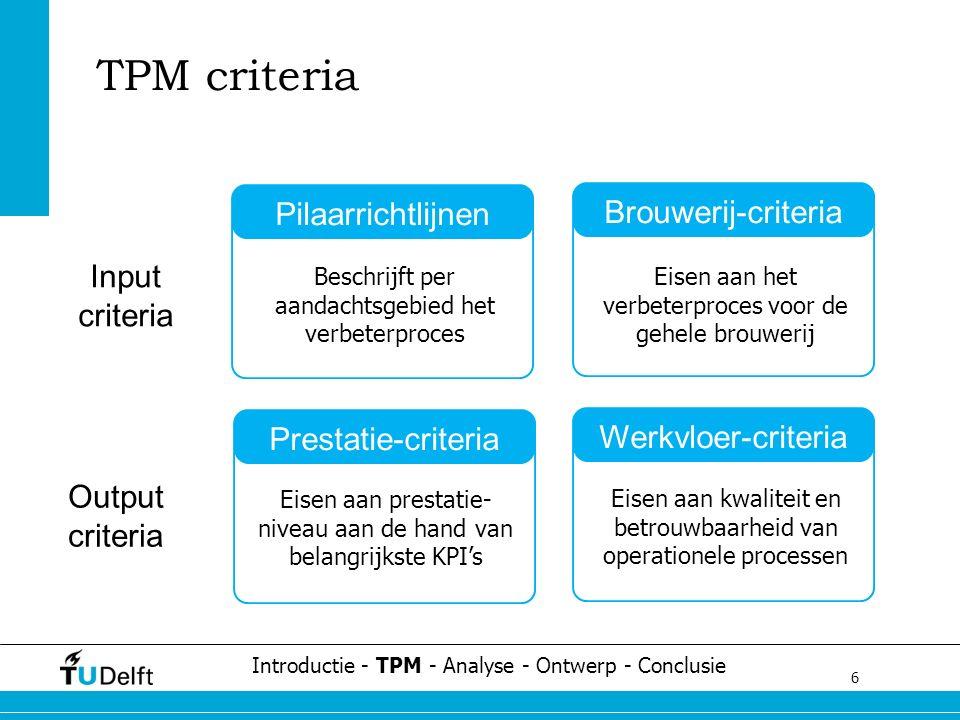 6 Challenge the future TPM criteria Introductie - TPM - Analyse - Ontwerp - Conclusie Werkvloer-criteria Prestatie-criteria Pilaarrichtlijnen Brouwerij-criteria Beschrijft per aandachtsgebied het verbeterproces Eisen aan het verbeterproces voor de gehele brouwerij Eisen aan prestatie- niveau aan de hand van belangrijkste KPI's Eisen aan kwaliteit en betrouwbaarheid van operationele processen Input criteria Output criteria