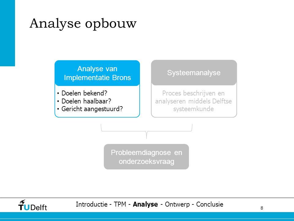 8 Challenge the future Analyse opbouw Introductie - TPM - Analyse - Ontwerp - Conclusie Analyse van Implementatie Brons Doelen bekend? Doelen haalbaar