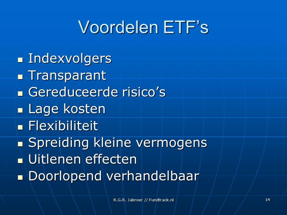 R.G.R. Jabroer // Fundtrack.nl 14 Voordelen ETF's Indexvolgers Indexvolgers Transparant Transparant Gereduceerde risico's Gereduceerde risico's Lage k