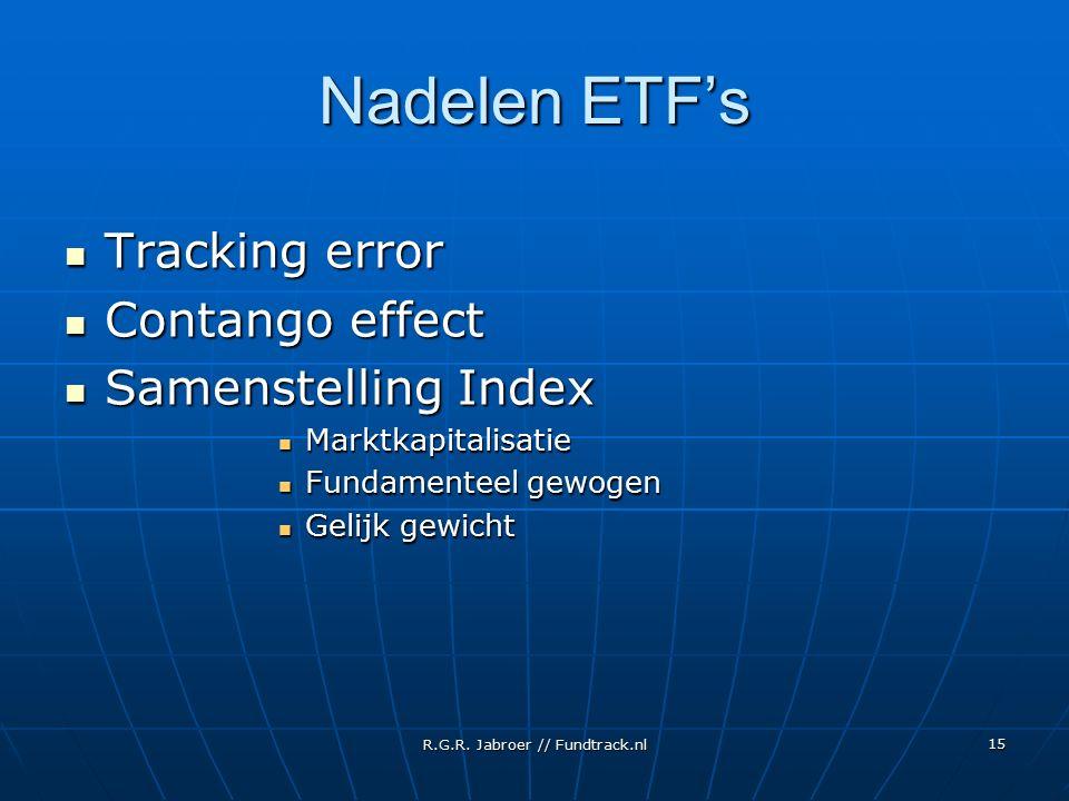 R.G.R. Jabroer // Fundtrack.nl 15 Nadelen ETF's Tracking error Tracking error Contango effect Contango effect Samenstelling Index Samenstelling Index