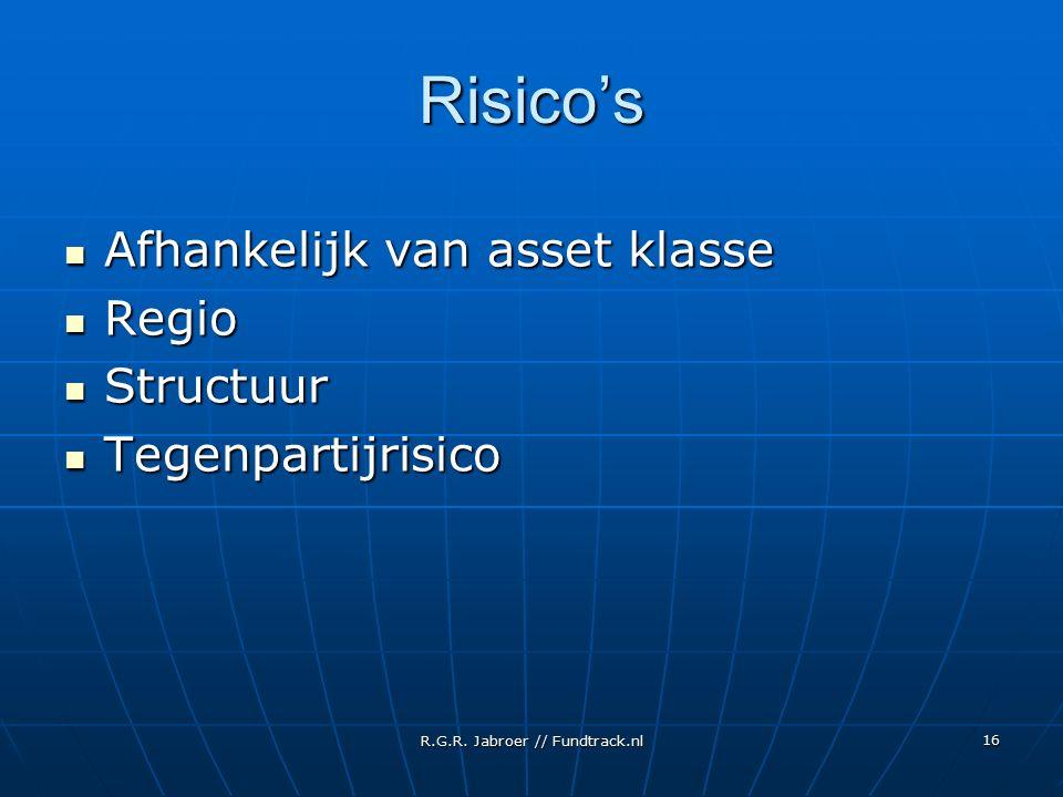 R.G.R. Jabroer // Fundtrack.nl 16 Risico's Afhankelijk van asset klasse Afhankelijk van asset klasse Regio Regio Structuur Structuur Tegenpartijrisico