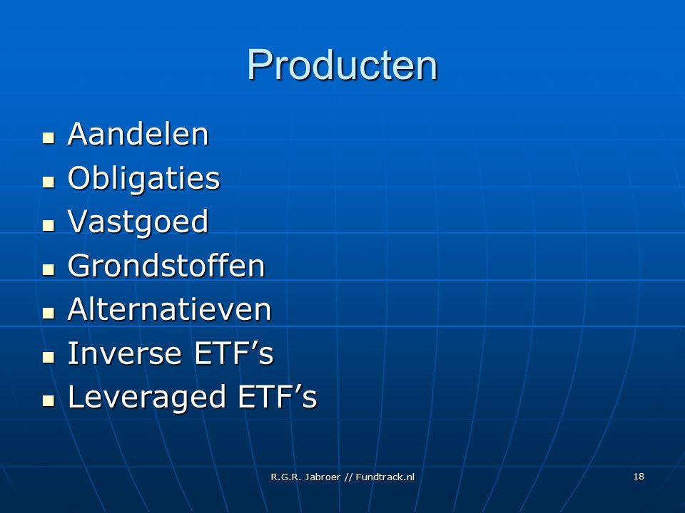 R.G.R. Jabroer // Fundtrack.nl 18 Producten Aandelen Aandelen Obligaties Obligaties Vastgoed Vastgoed Grondstoffen Grondstoffen Alternatieven Alternat