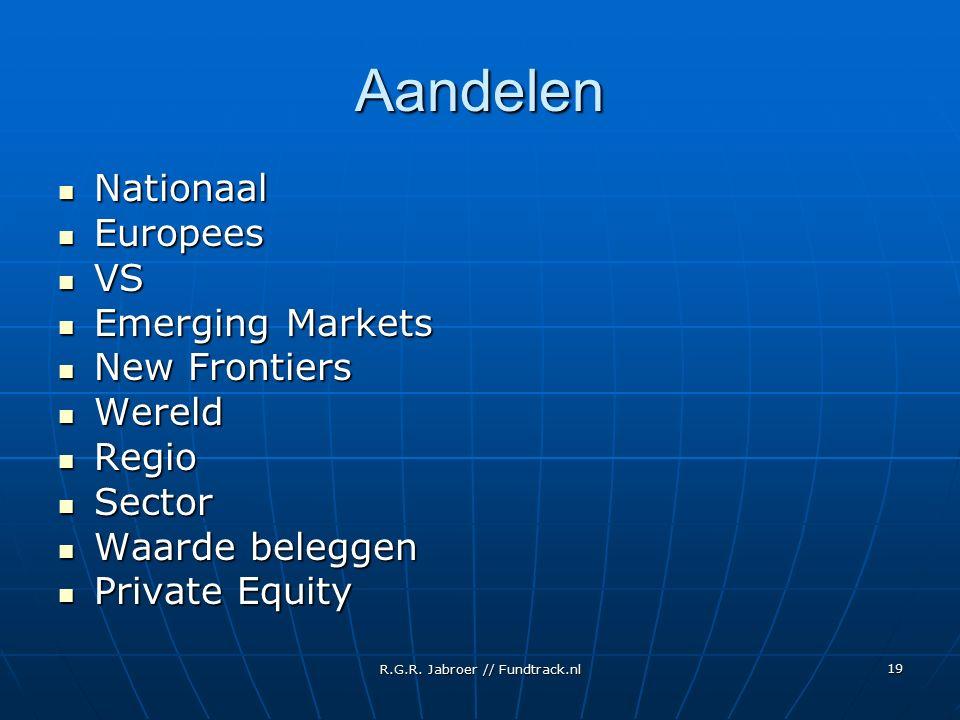 R.G.R. Jabroer // Fundtrack.nl 19 Aandelen Nationaal Nationaal Europees Europees VS VS Emerging Markets Emerging Markets New Frontiers New Frontiers W