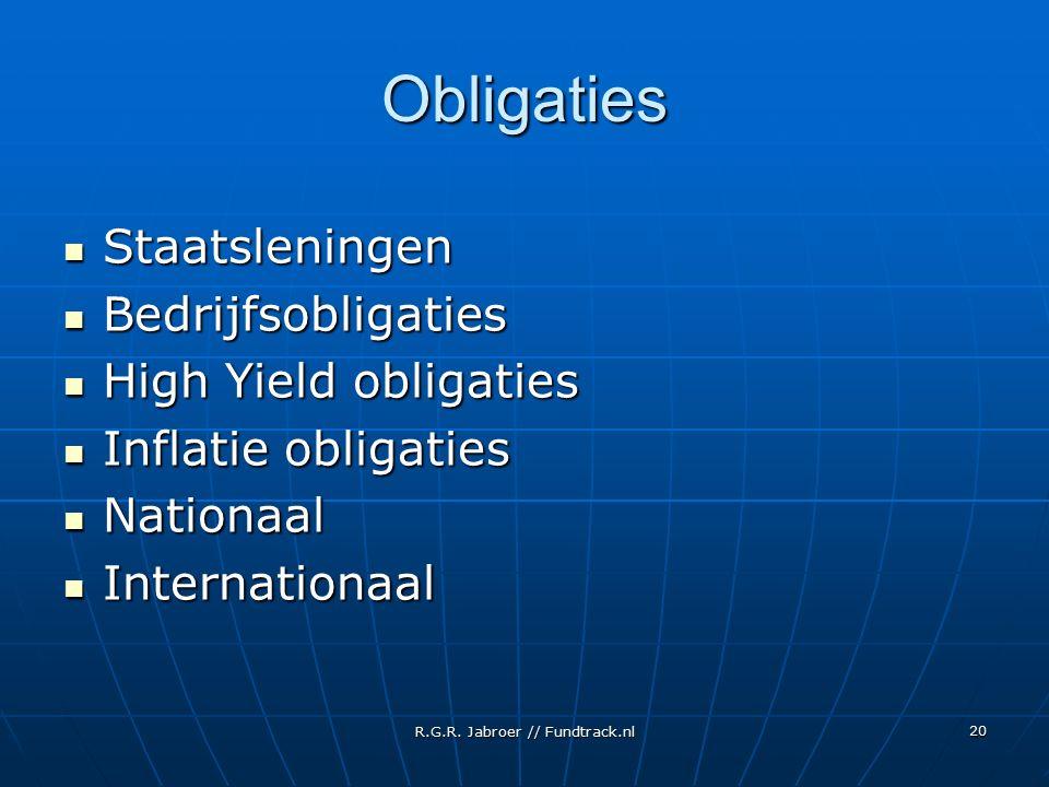 R.G.R. Jabroer // Fundtrack.nl 20 Obligaties Staatsleningen Staatsleningen Bedrijfsobligaties Bedrijfsobligaties High Yield obligaties High Yield obli