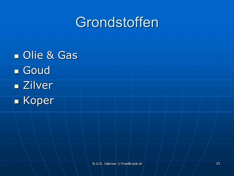 R.G.R. Jabroer // Fundtrack.nl 22 Grondstoffen Olie & Gas Olie & Gas Goud Goud Zilver Zilver Koper Koper