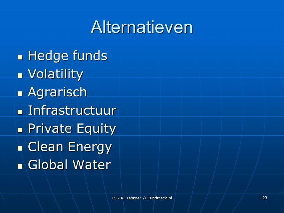 R.G.R. Jabroer // Fundtrack.nl 23 Alternatieven Hedge funds Hedge funds Volatility Volatility Agrarisch Agrarisch Infrastructuur Infrastructuur Privat