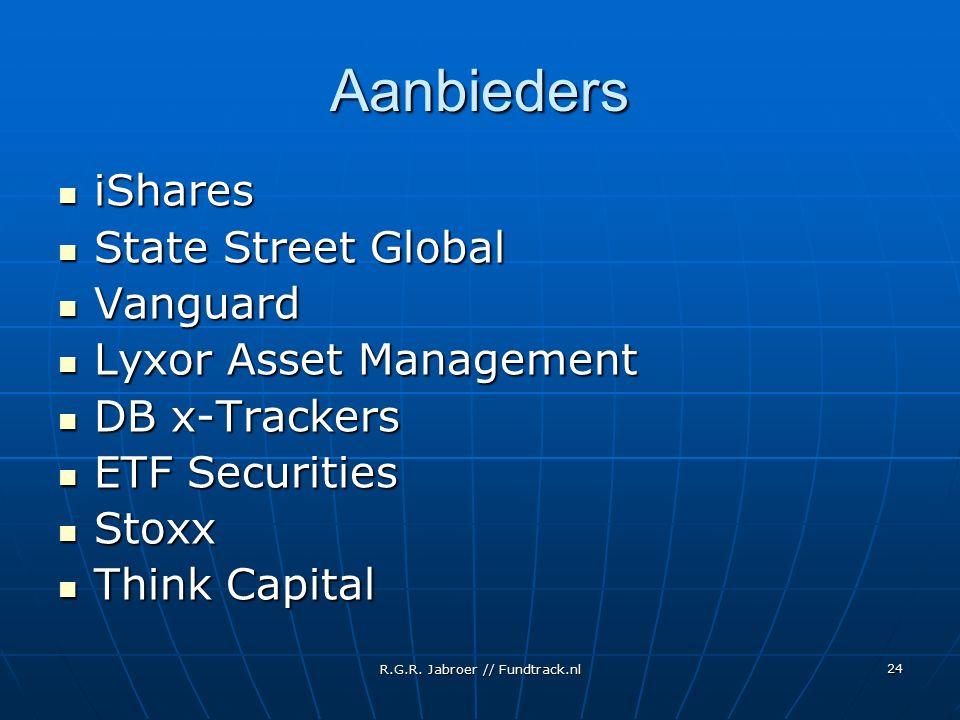 R.G.R. Jabroer // Fundtrack.nl 24 Aanbieders iShares iShares State Street Global State Street Global Vanguard Vanguard Lyxor Asset Management Lyxor As