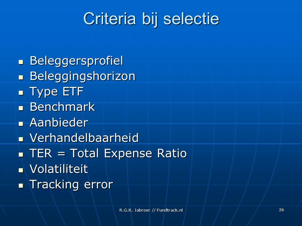 R.G.R. Jabroer // Fundtrack.nl 26 Criteria bij selectie Beleggersprofiel Beleggersprofiel Beleggingshorizon Beleggingshorizon Type ETF Type ETF Benchm