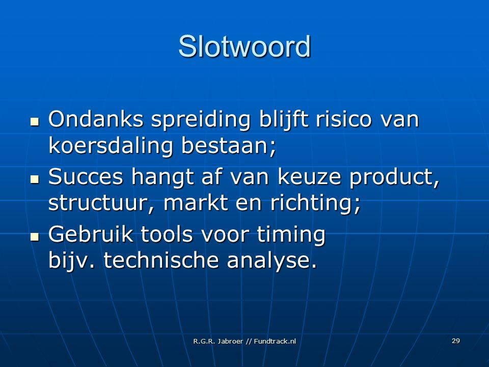 R.G.R. Jabroer // Fundtrack.nl 29 Slotwoord Ondanks spreiding blijft risico van koersdaling bestaan; Ondanks spreiding blijft risico van koersdaling b