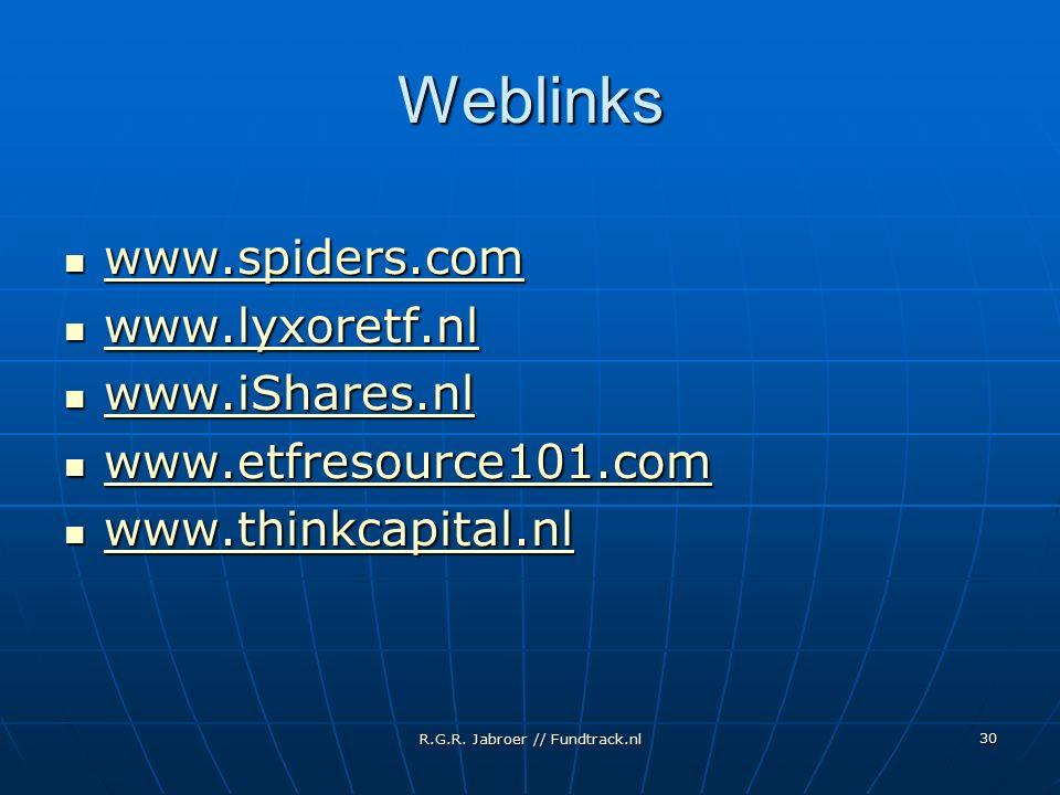 R.G.R. Jabroer // Fundtrack.nl 30 Weblinks www.spiders.com www.spiders.com www.spiders.com www.lyxoretf.nl www.lyxoretf.nl www.lyxoretf.nl www.iShares