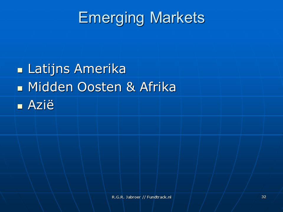 R.G.R. Jabroer // Fundtrack.nl 32 Emerging Markets Latijns Amerika Latijns Amerika Midden Oosten & Afrika Midden Oosten & Afrika Azië Azië