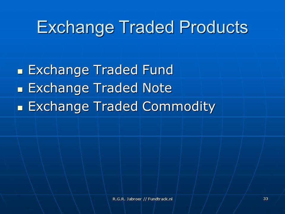 R.G.R. Jabroer // Fundtrack.nl 33 Exchange Traded Products Exchange Traded Fund Exchange Traded Fund Exchange Traded Note Exchange Traded Note Exchang