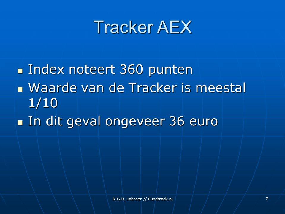 R.G.R. Jabroer // Fundtrack.nl 7 Tracker AEX Index noteert 360 punten Index noteert 360 punten Waarde van de Tracker is meestal 1/10 Waarde van de Tra