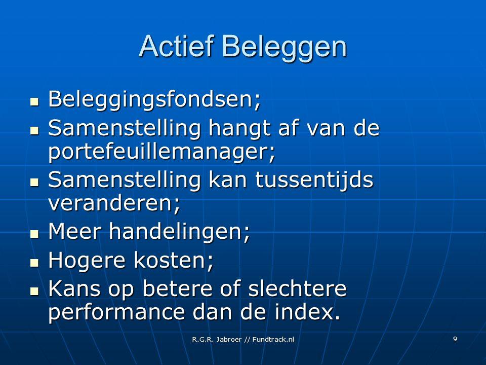R.G.R. Jabroer // Fundtrack.nl 9 Actief Beleggen Beleggingsfondsen; Beleggingsfondsen; Samenstelling hangt af van de portefeuillemanager; Samenstellin