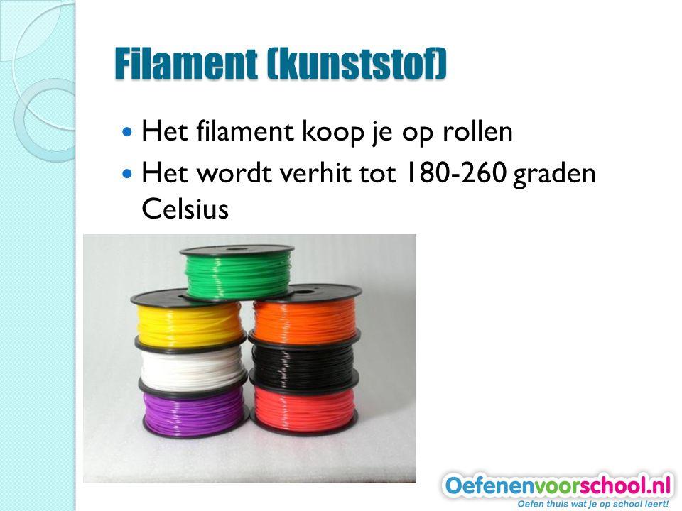 Filament (kunststof) Het filament koop je op rollen Het wordt verhit tot 180-260 graden Celsius