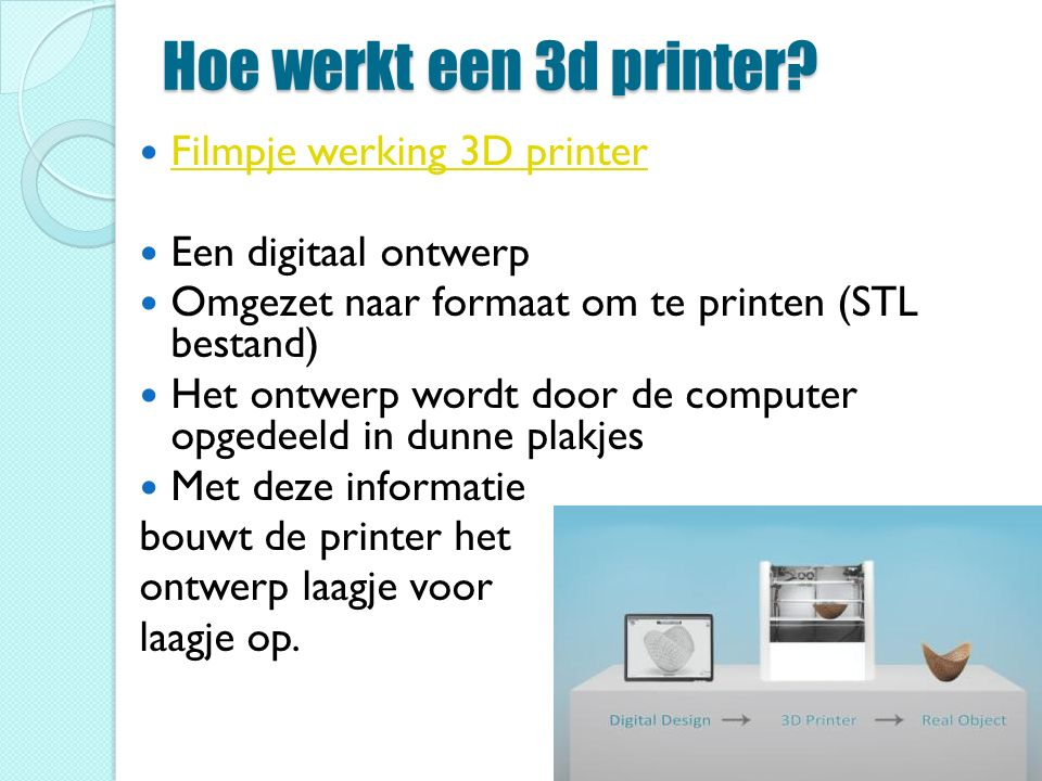 Hoe werkt een 3d printer.