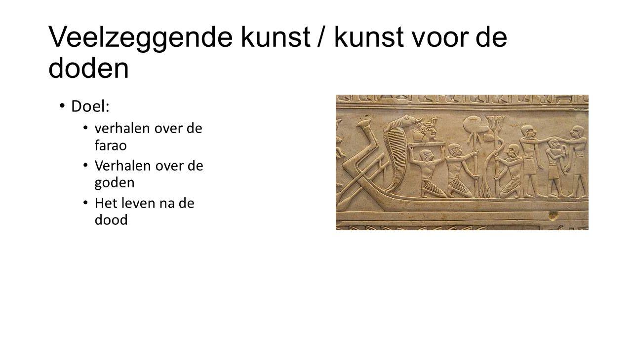 Veelzeggende kunst / kunst voor de doden Doel: verhalen over de farao Verhalen over de goden Het leven na de dood