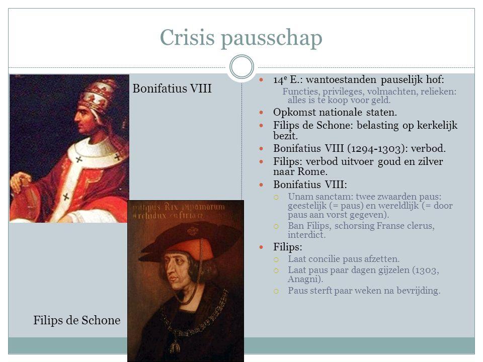 Crisis pausschap 14 e E.: wantoestanden pauselijk hof: Functies, privileges, volmachten, relieken: alles is te koop voor geld. Opkomst nationale state